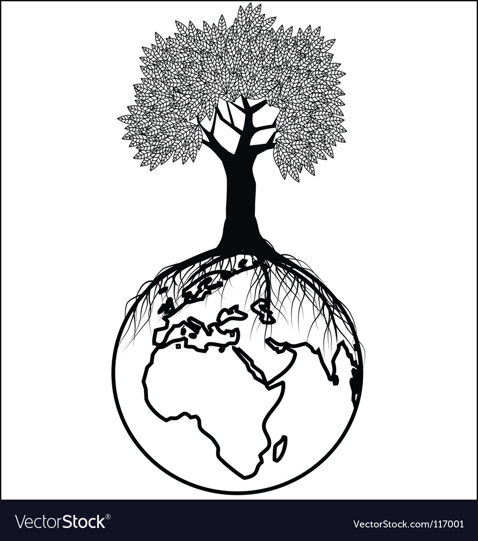 Tree silhouette on earth vector | Price: 1 Credit (USD $1)