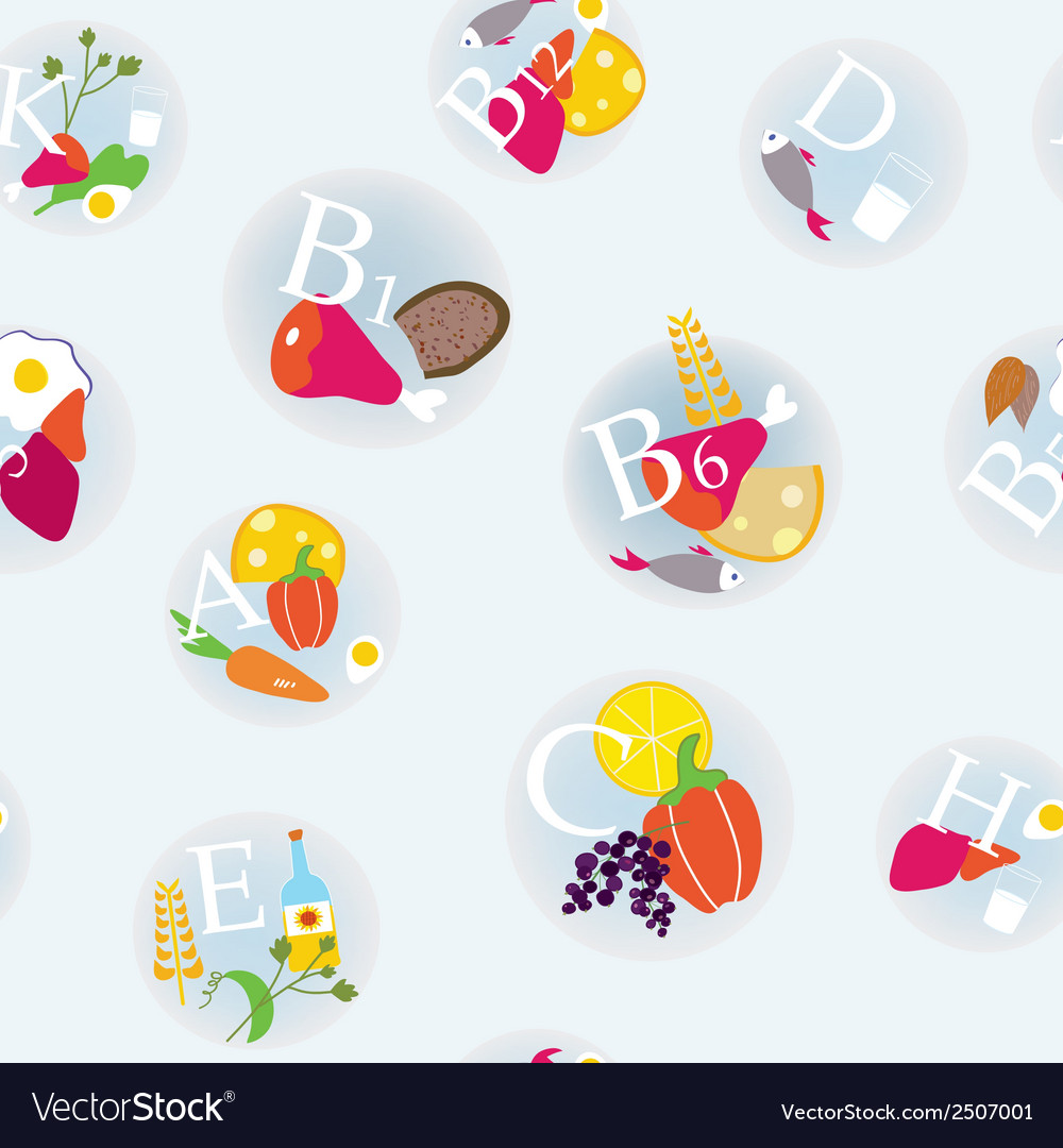 Vitamins and healthy eating symbols seamless vector | Price: 1 Credit (USD $1)