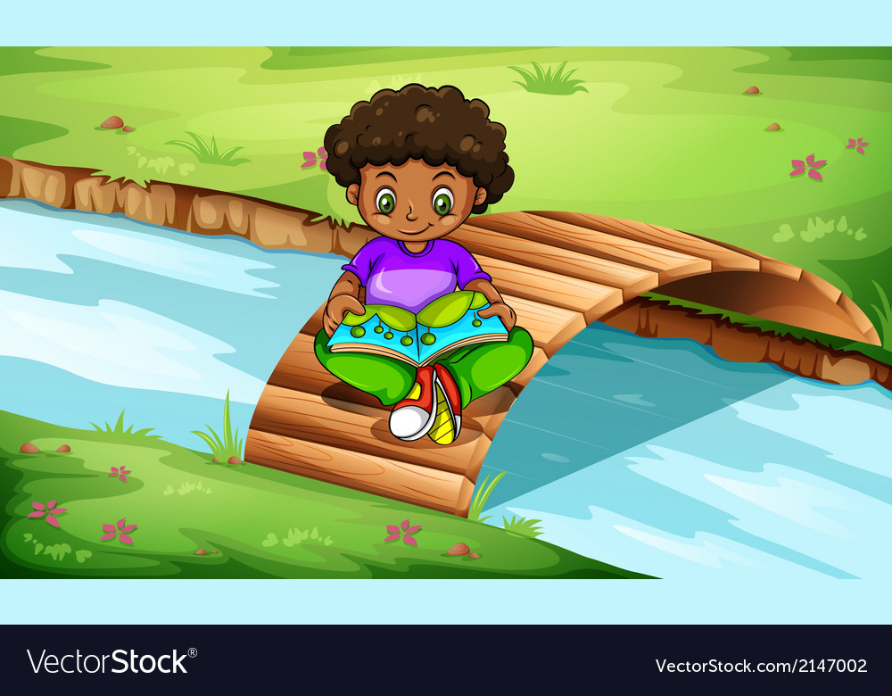 A boy reading at the bridge vector | Price: 3 Credit (USD $3)