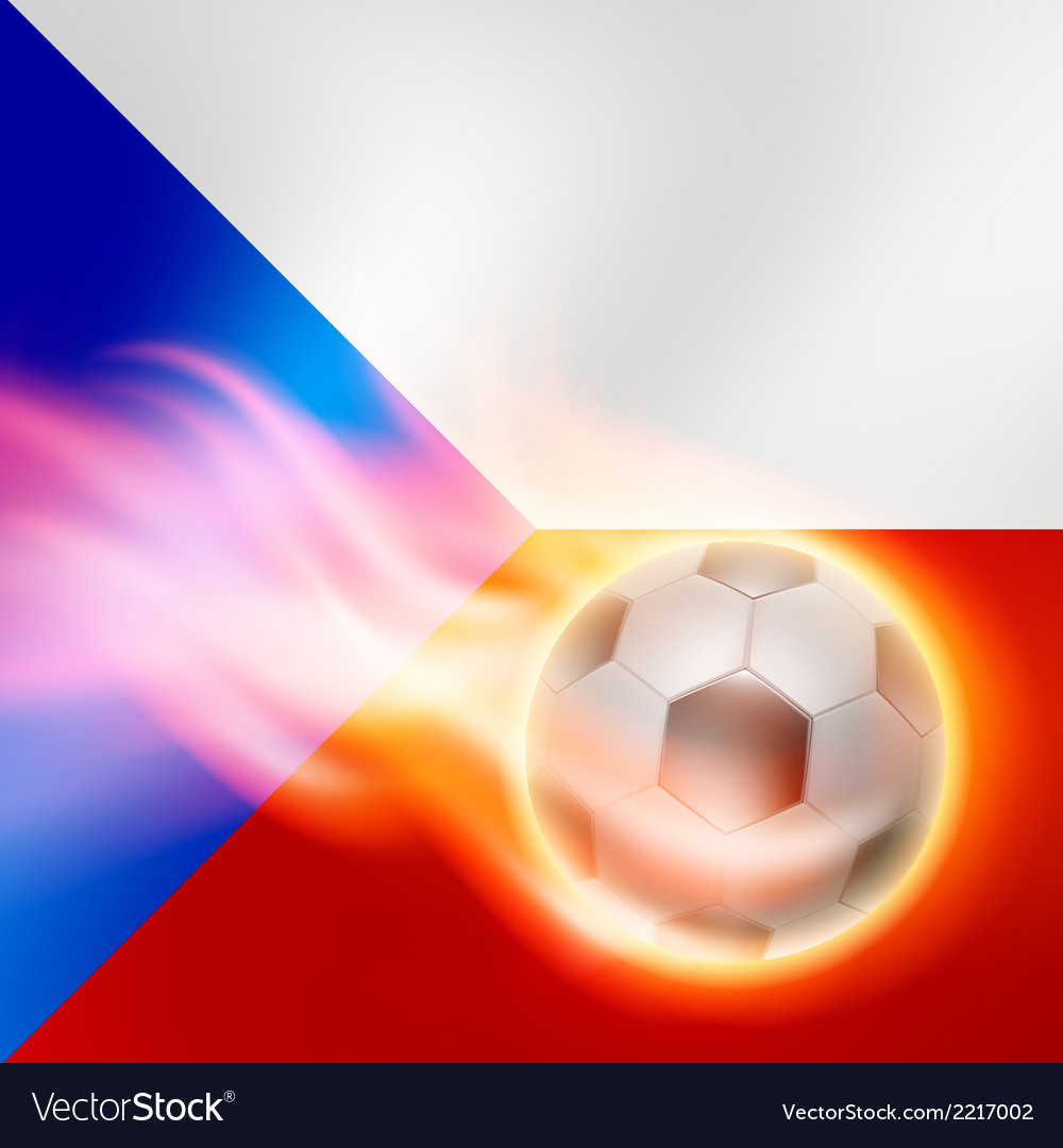 Burning football on czech republic flag background vector | Price: 1 Credit (USD $1)