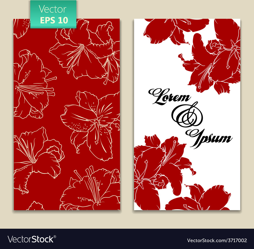 Card template with red flowers vector | Price: 1 Credit (USD $1)