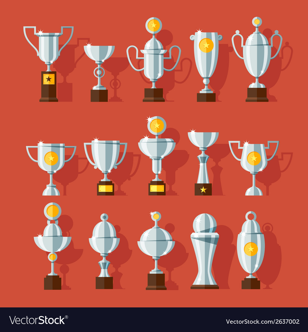 Icons set of bronze sport award cups vector | Price: 1 Credit (USD $1)