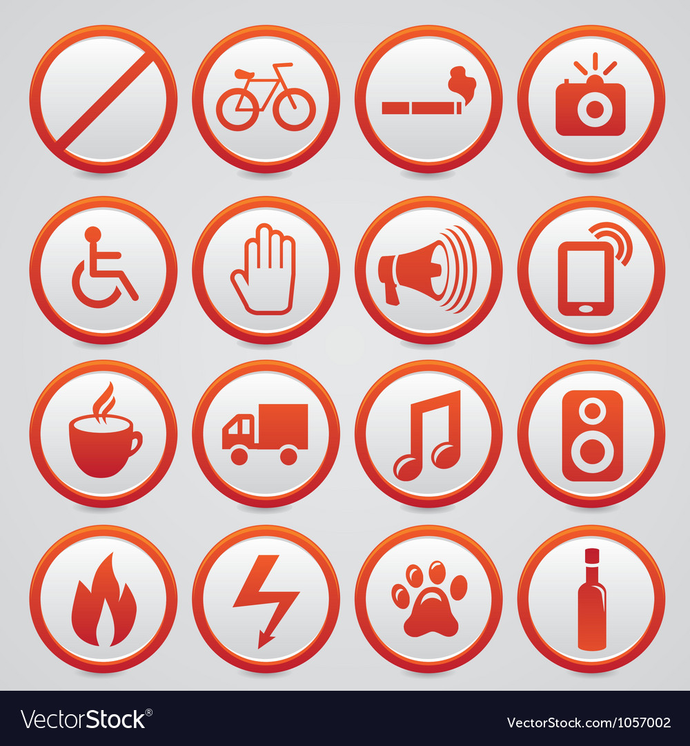 Warning signs with red icons vector | Price: 1 Credit (USD $1)