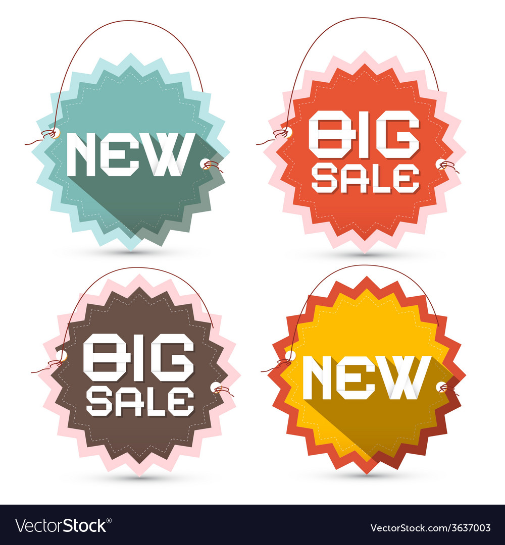Big sale and new title on toothed labels with vector | Price: 1 Credit (USD $1)