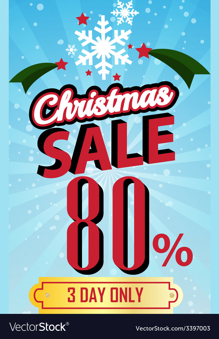 Christmas sale 80 percent typographic background vector | Price: 1 Credit (USD $1)