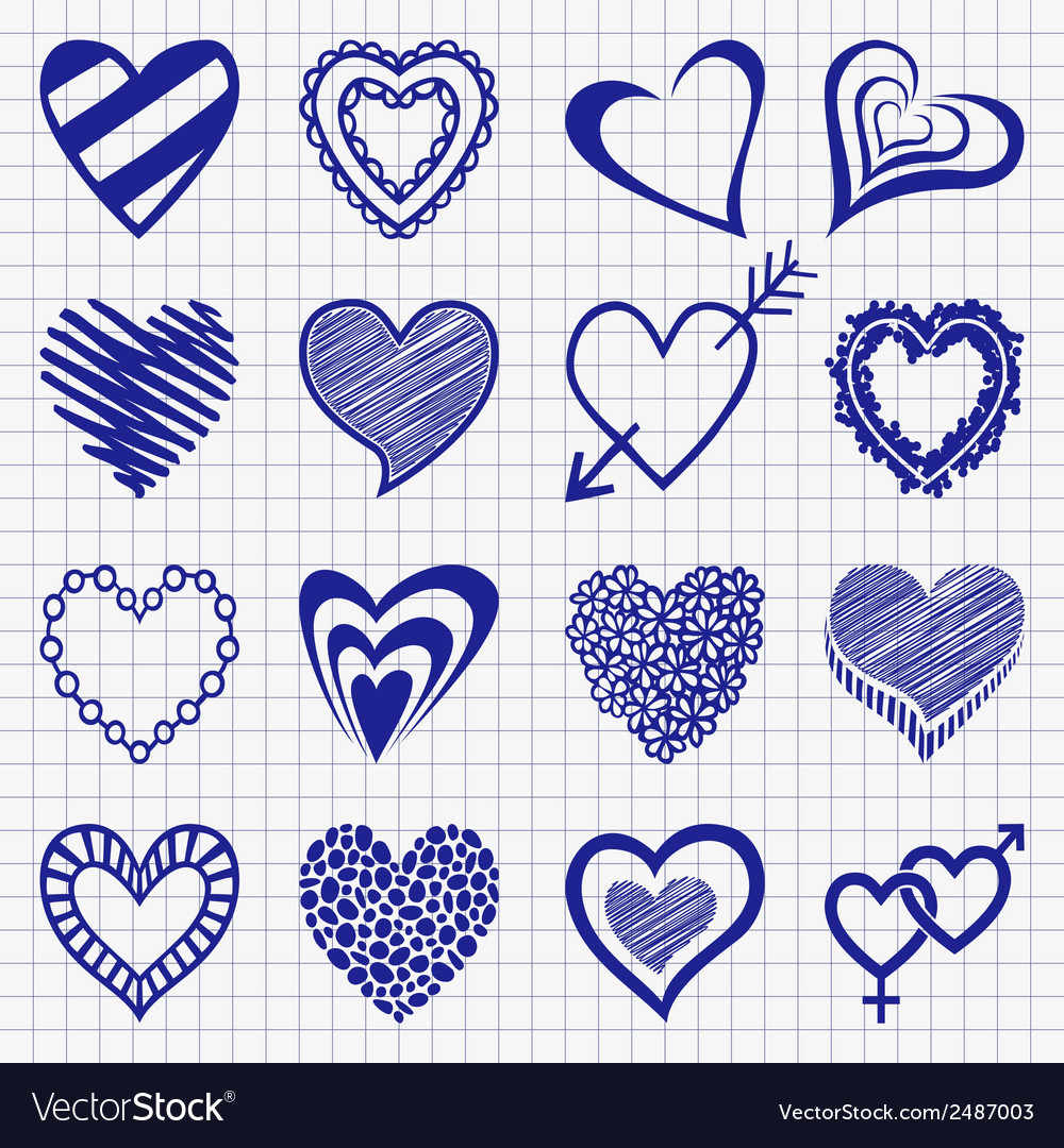 Hand drawn set of heart icons on a checkered paper vector | Price: 1 Credit (USD $1)