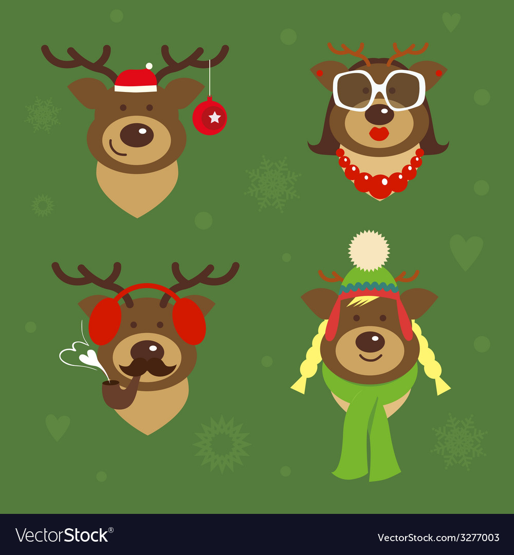 Holiday deer family vector | Price: 1 Credit (USD $1)