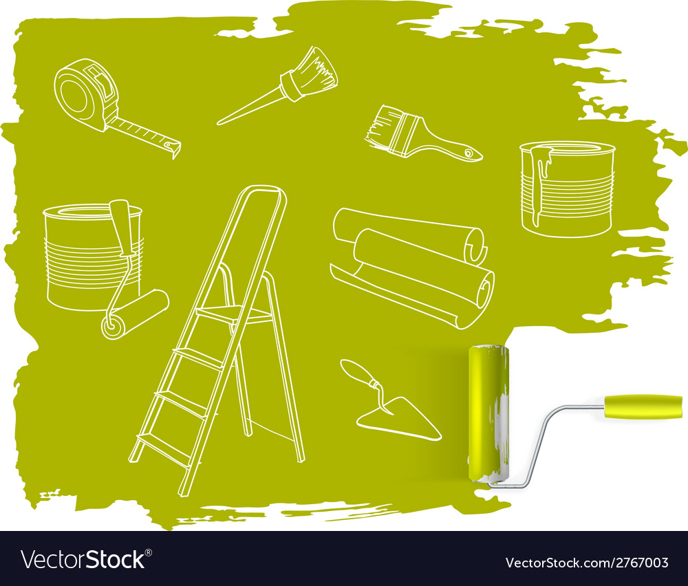 Home repair concept sketched drawing with paint vector | Price: 1 Credit (USD $1)