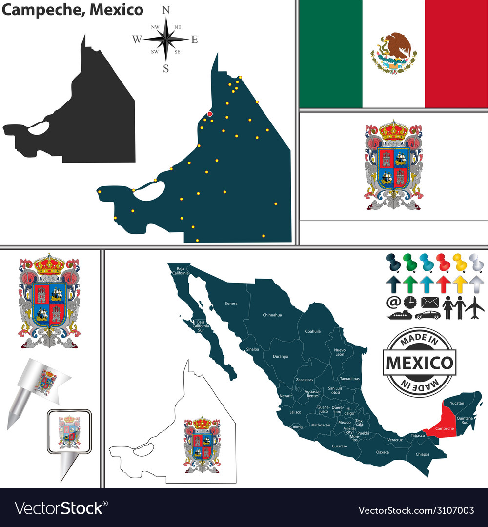 Map of campeche vector | Price: 1 Credit (USD $1)