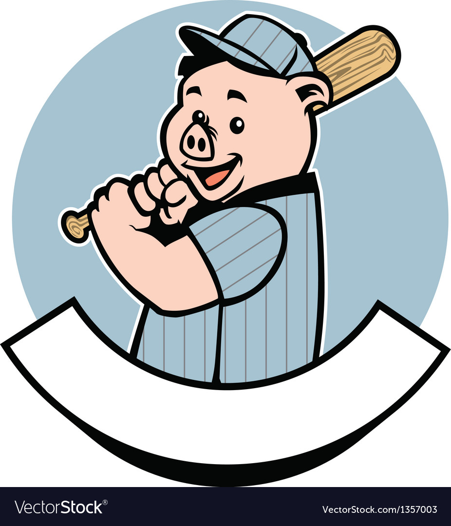 Pig baseball player vector | Price: 1 Credit (USD $1)