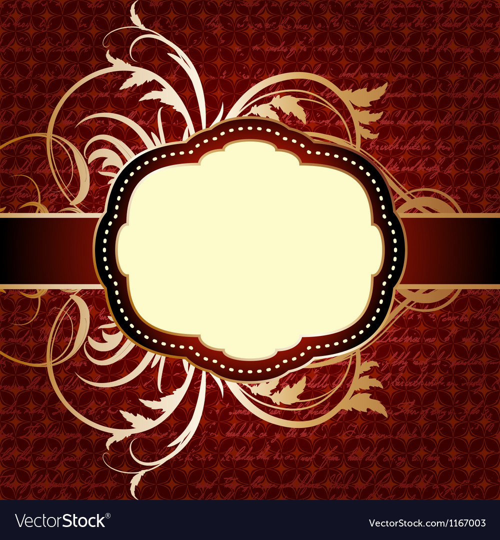 Red seamless geometric pattern with vintage frame vector | Price: 1 Credit (USD $1)