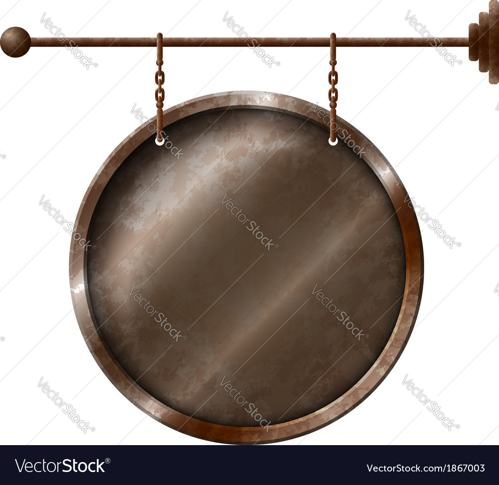 Round rusty metal signboard on the chains vector | Price: 1 Credit (USD $1)