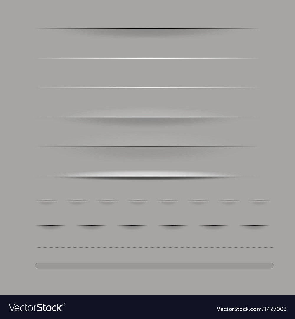 Set of dividers isolated on grey background vector | Price: 1 Credit (USD $1)