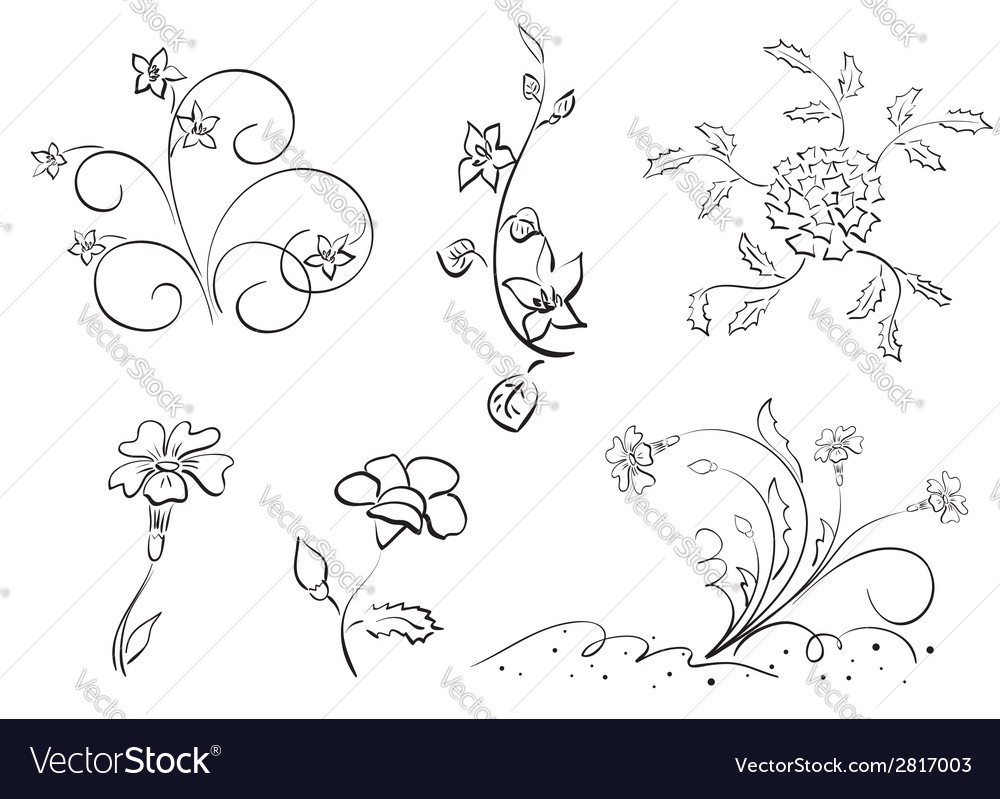 Set of flowers - elements vector | Price: 1 Credit (USD $1)