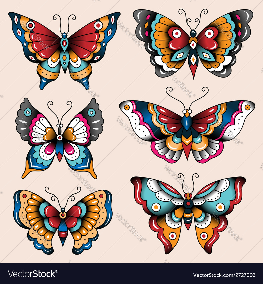 Tattoo butterflies vector | Price: 1 Credit (USD $1)