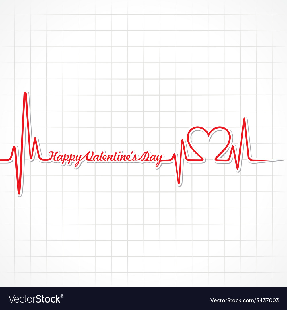 Valentine greeting with heartbeat vector | Price: 1 Credit (USD $1)