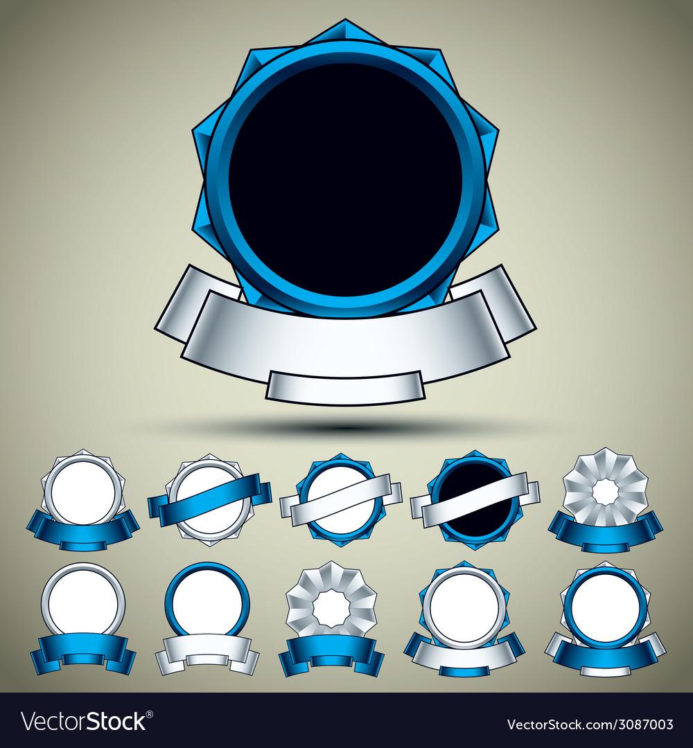 Vintage labels set blue vector   Price: 1 Credit (USD $1)