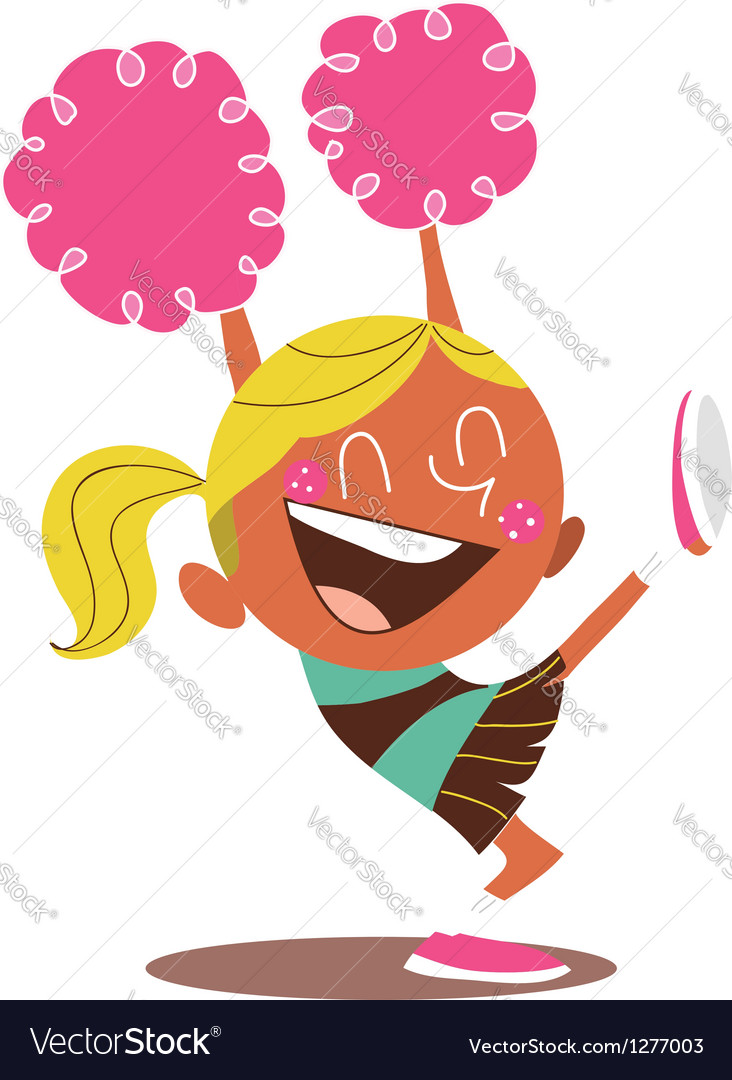 Yound blond of a smiling cheerleader cheering vector | Price: 3 Credit (USD $3)