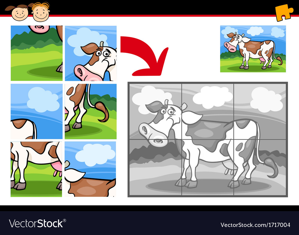 Cartoon cow jigsaw puzzle game vector | Price: 1 Credit (USD $1)