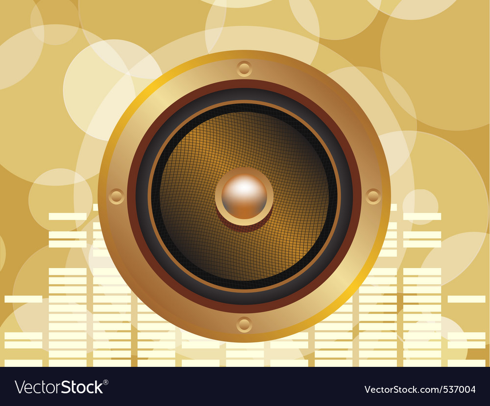 Gold speaker with equalizer background and glowing vector | Price: 1 Credit (USD $1)