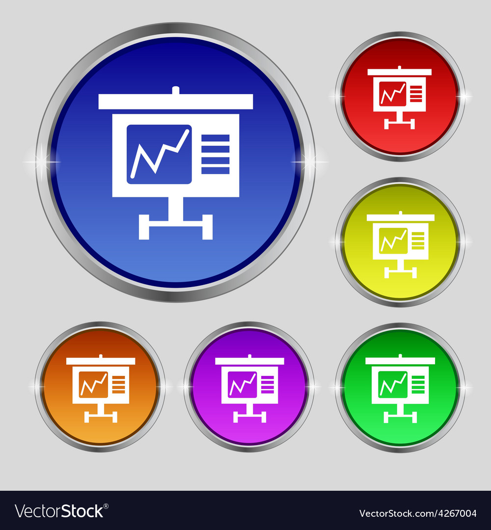 Graph icon sign round symbol on bright colourful vector | Price: 1 Credit (USD $1)