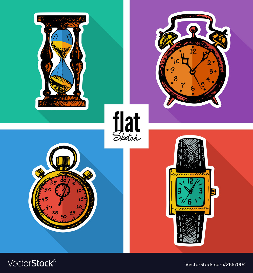 Set of sketch hand drawn clocks flat icons vector | Price: 1 Credit (USD $1)