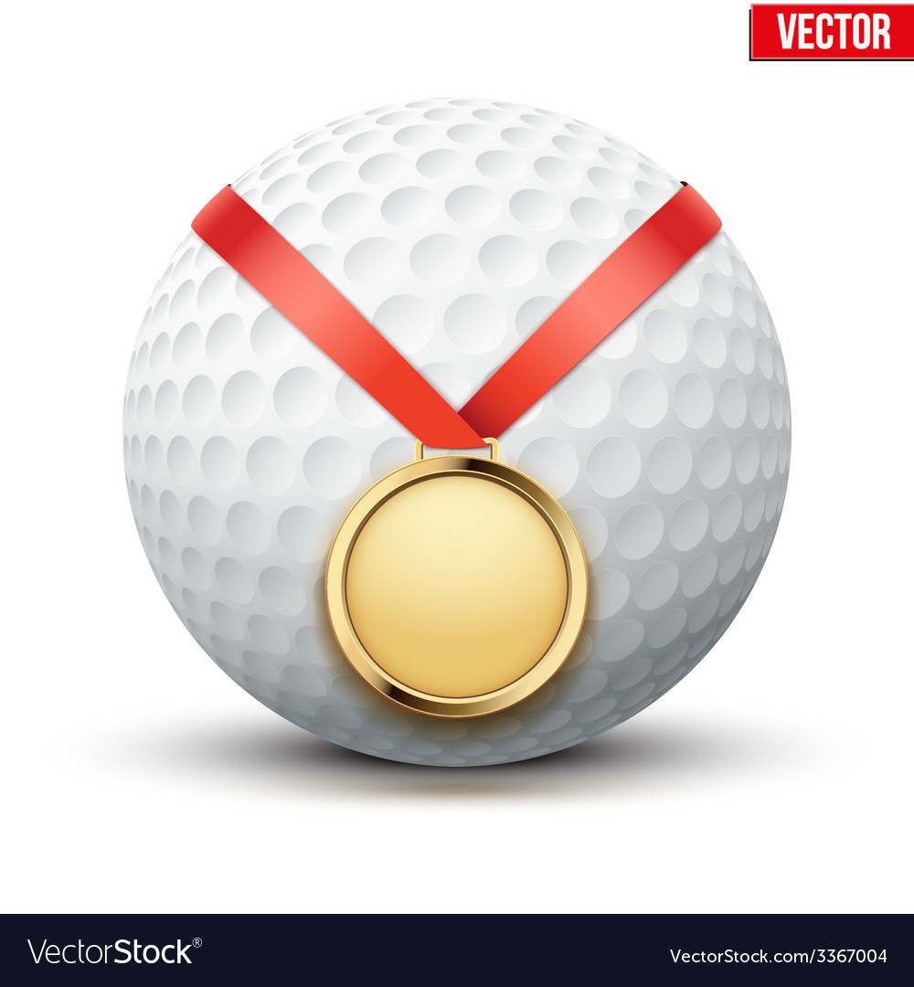 Sport gold medal with ribbon for winning golf vector | Price: 1 Credit (USD $1)