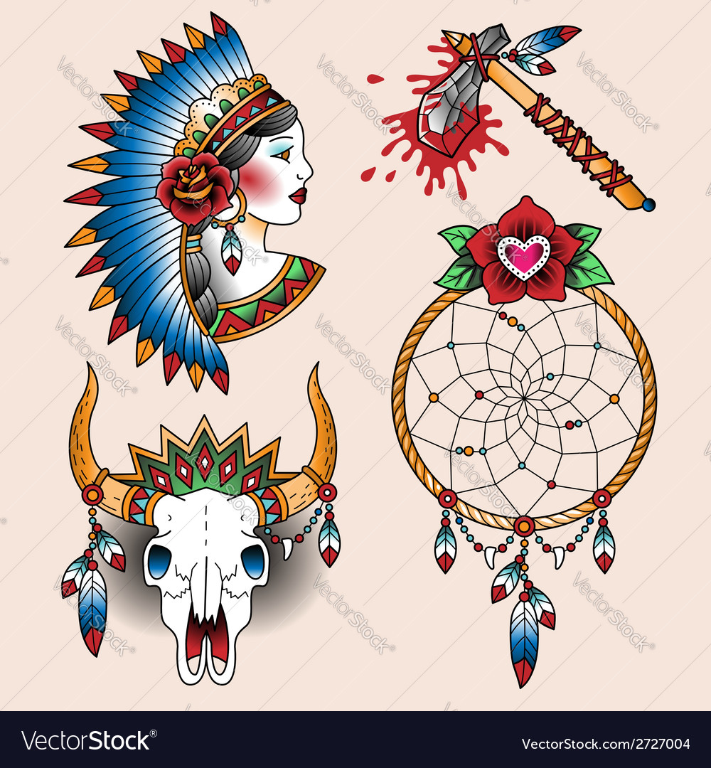 Tattoo indian set vector | Price: 1 Credit (USD $1)