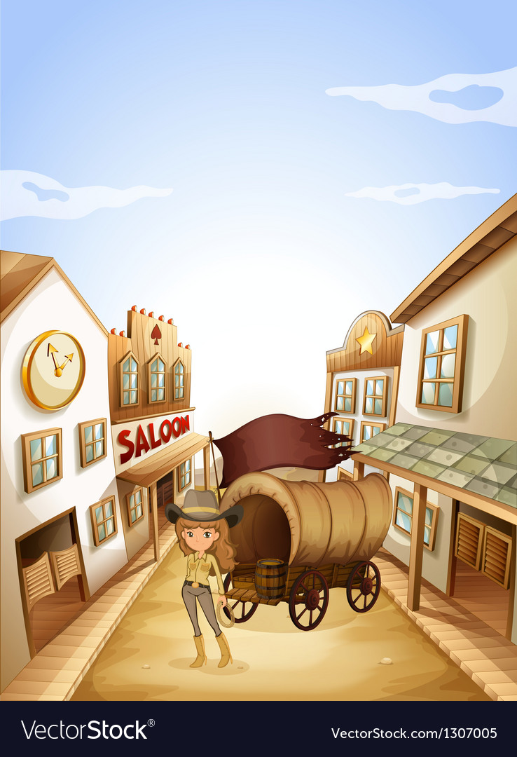 A girl standing near the saloon vector | Price: 1 Credit (USD $1)