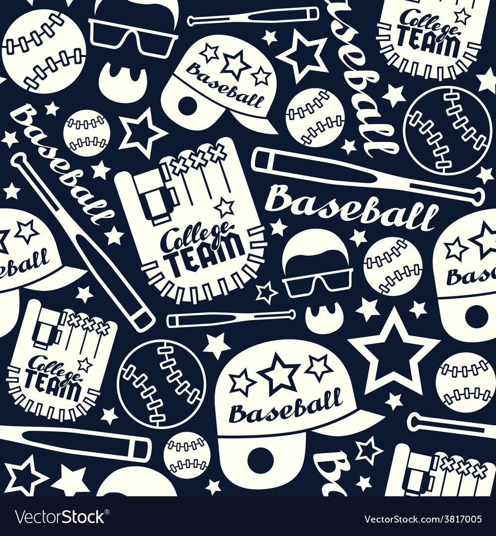 Baseball seamless pattern vector | Price: 1 Credit (USD $1)