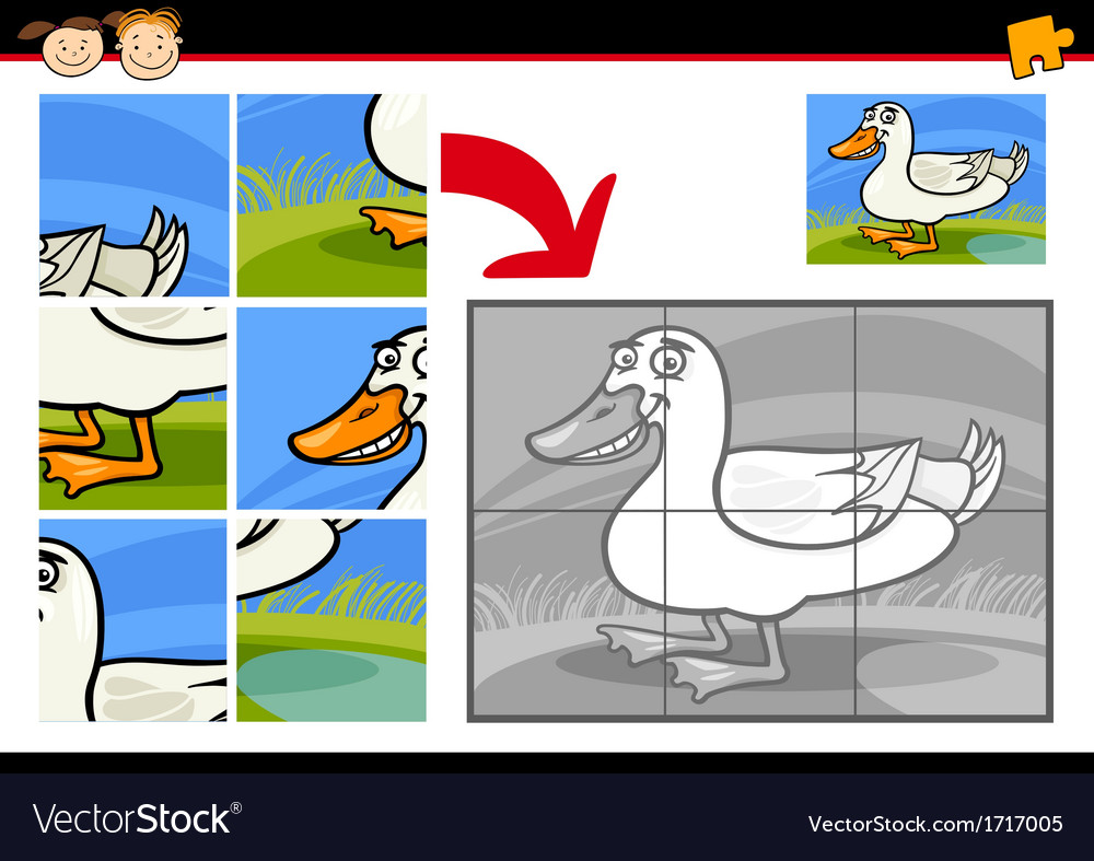 Cartoon duck jigsaw puzzle game vector | Price: 1 Credit (USD $1)