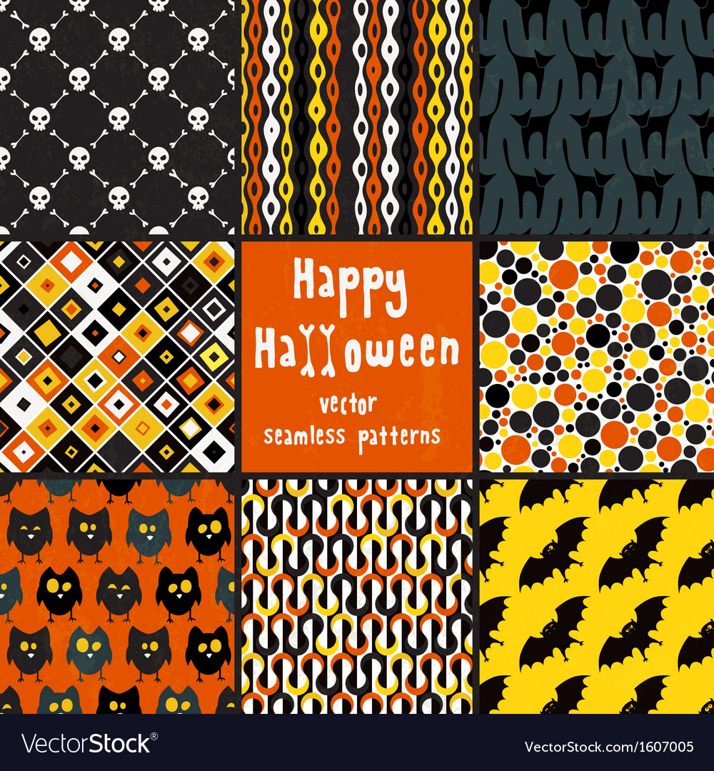 Collection of halloween seamless patterns vector | Price: 1 Credit (USD $1)