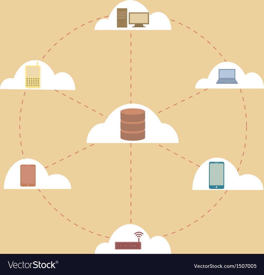 Electronic devices connected to cloud server vector | Price: 1 Credit (USD $1)