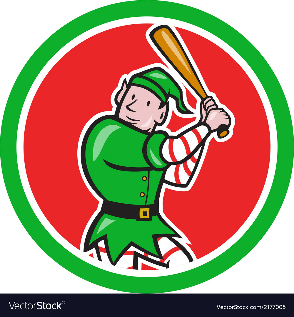 Elf baseball player bat circle cartoon vector | Price: 1 Credit (USD $1)
