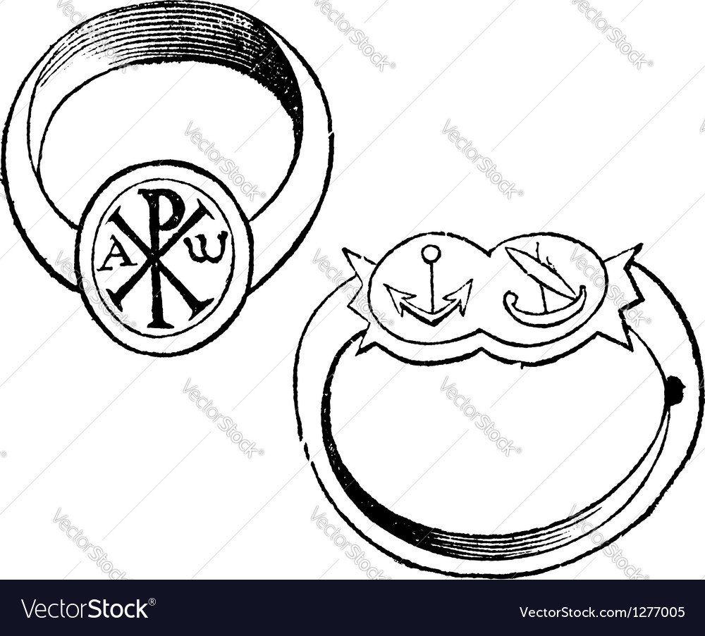 Episcopal rings vintage engraving vector | Price: 1 Credit (USD $1)