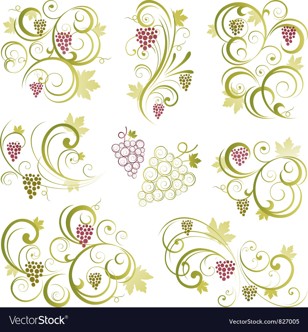 Grapevine motifs vector | Price: 1 Credit (USD $1)