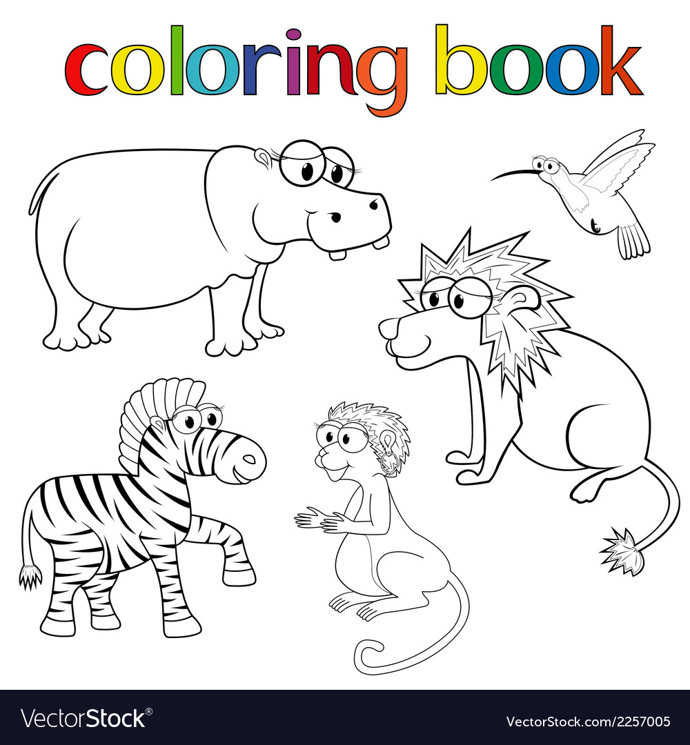 Kit of animals for coloring book vector | Price: 1 Credit (USD $1)