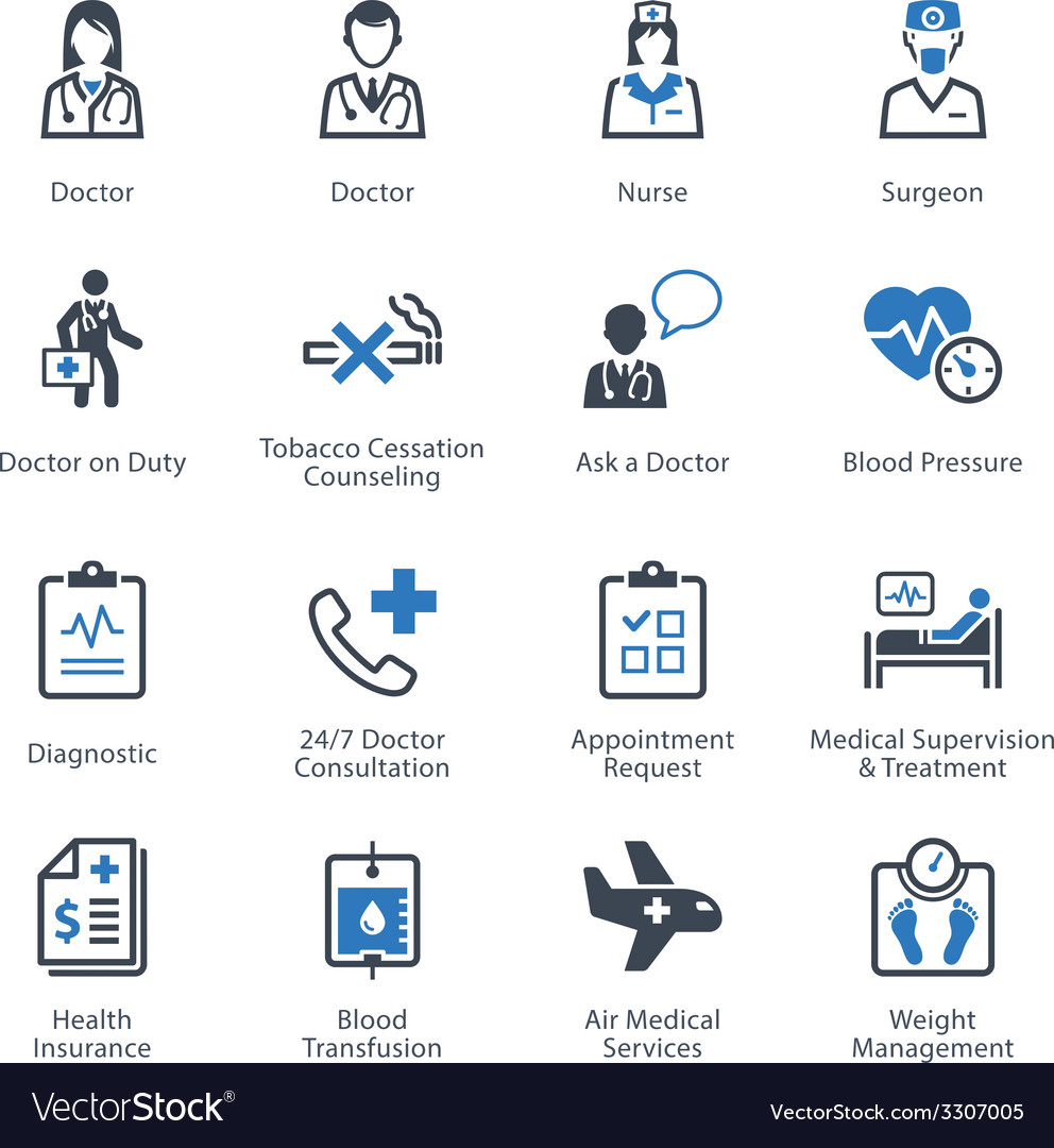 Medical health and care icons set 2 - services vector