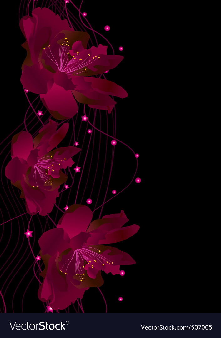 Red flowers on black vector | Price: 1 Credit (USD $1)