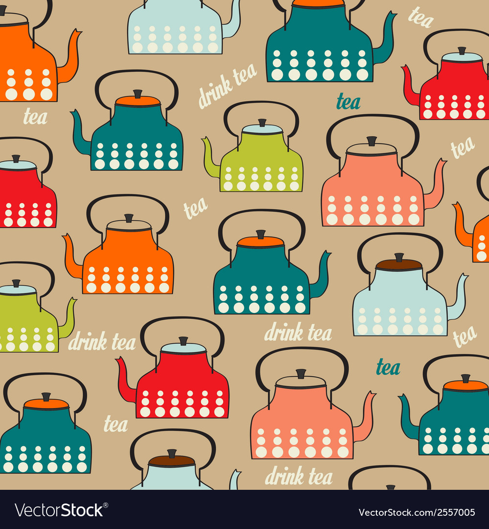 Seamless pattern with vintage kettles vector