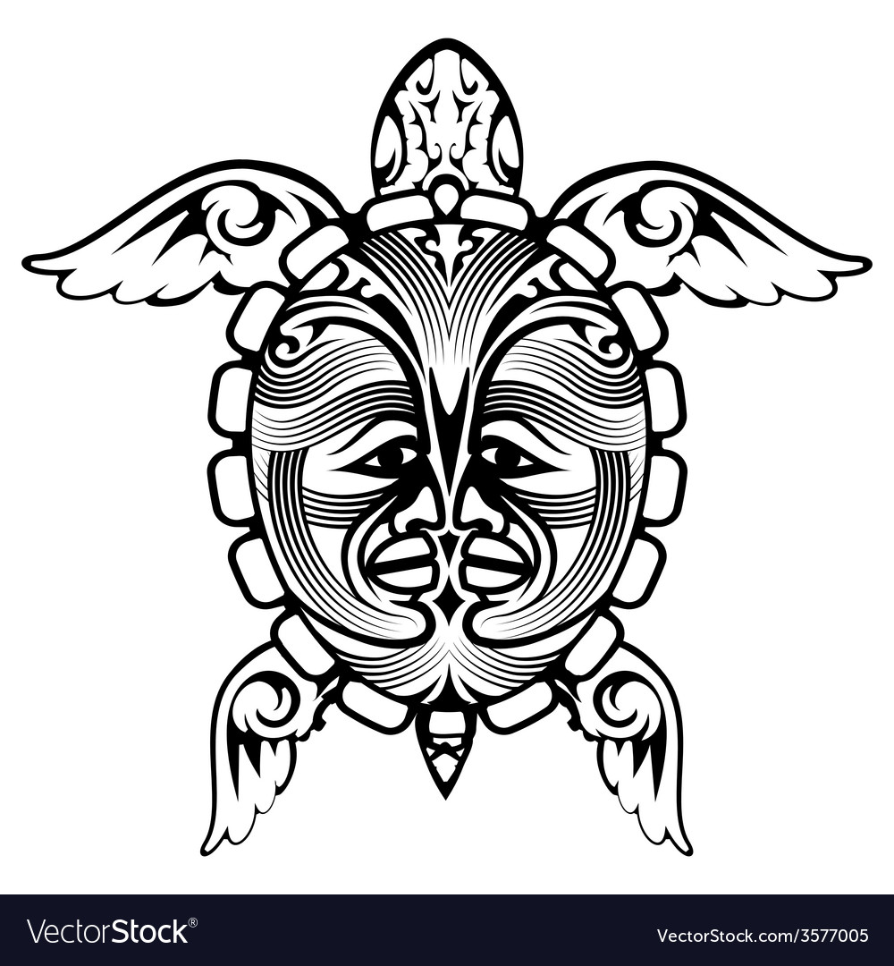 Tribal totem animal turtle tattoo vector | Price: 1 Credit (USD $1)