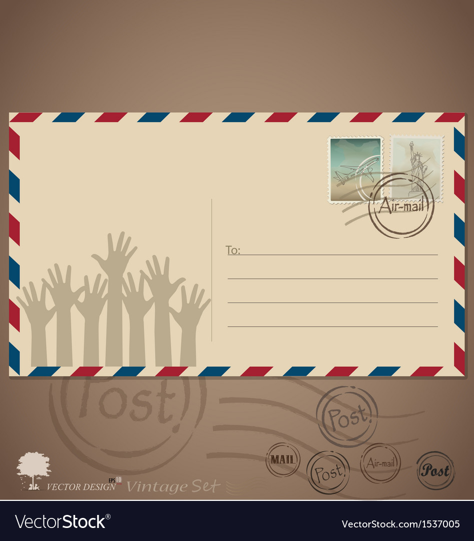 Vintage envelope designs with postage stamps vector | Price: 1 Credit (USD $1)