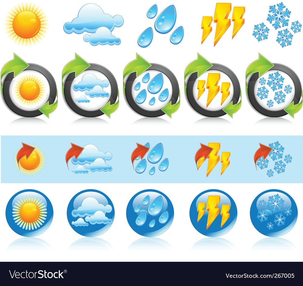 Weather round icons vector | Price: 3 Credit (USD $3)