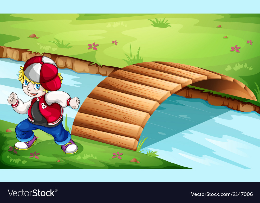 A hiphop dancer dancing near the wooden bridge vector | Price: 3 Credit (USD $3)
