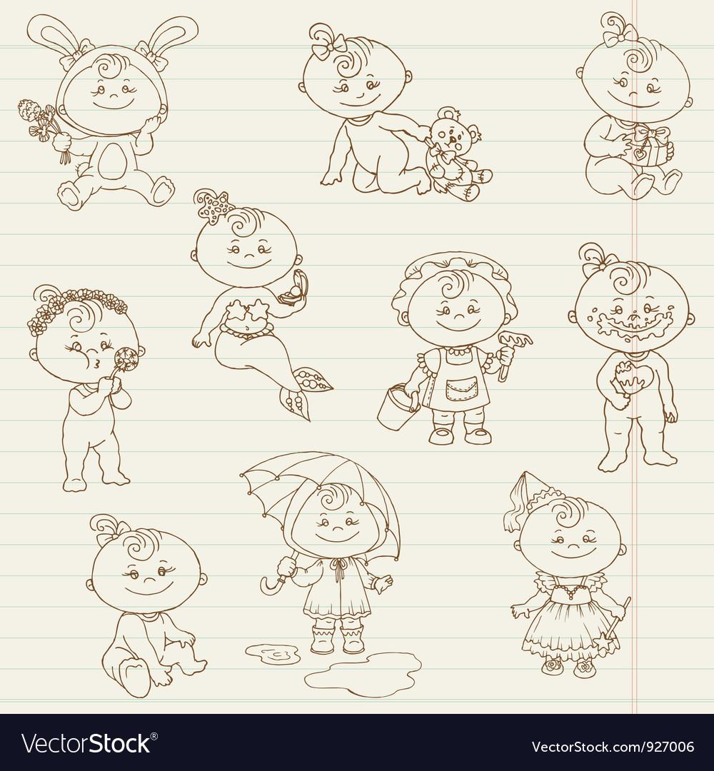 Baby girl cute doodles vector | Price: 3 Credit (USD $3)