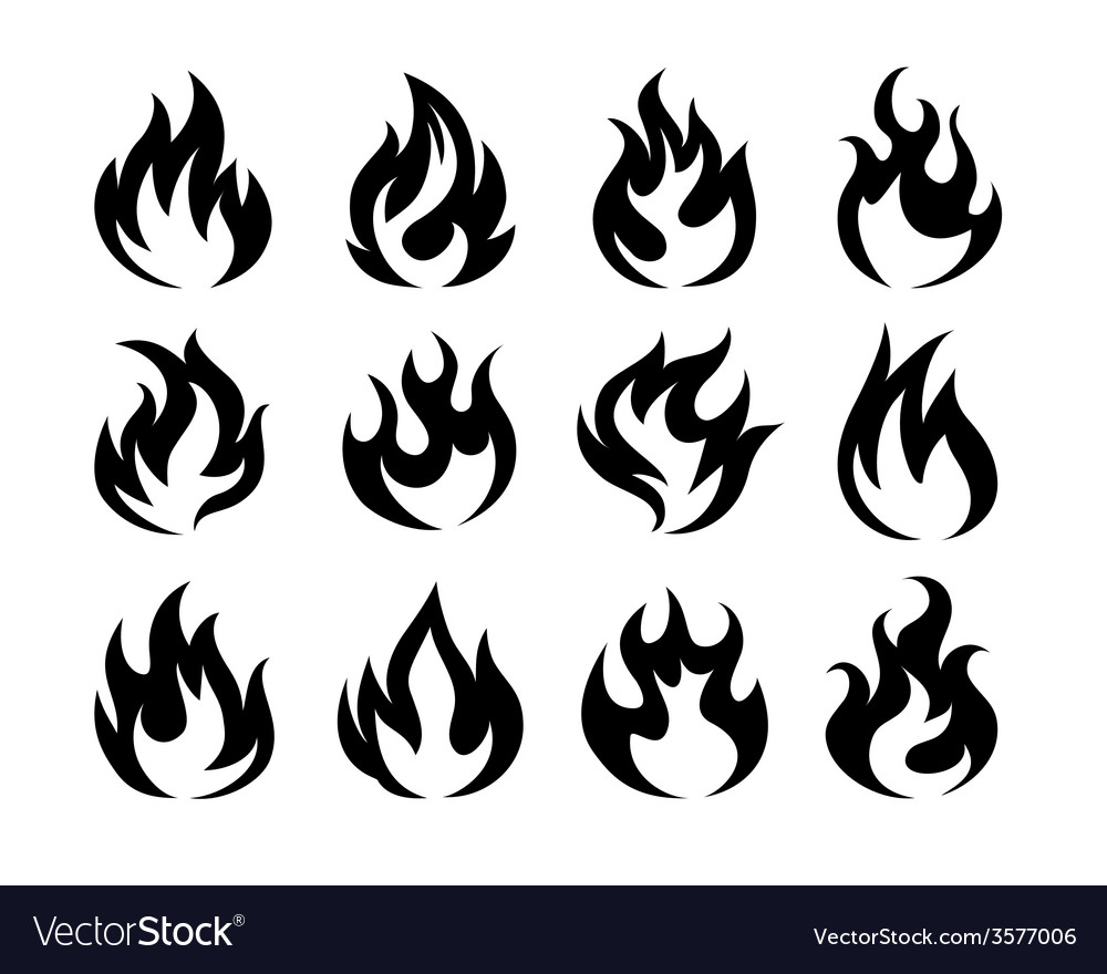 Black fire flame icons vector | Price: 1 Credit (USD $1)