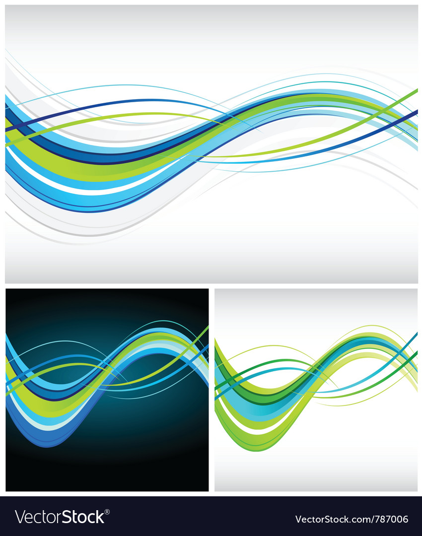 Blue and green flowing lines vector | Price: 1 Credit (USD $1)
