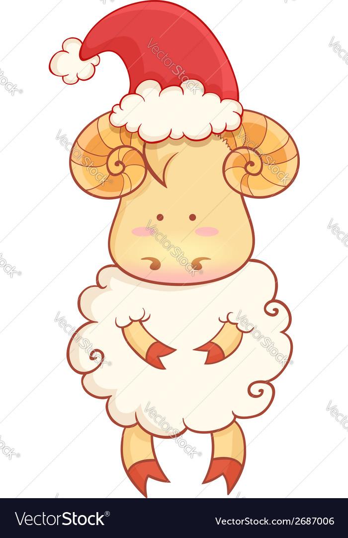 Cartoon sheep wearing santa hat vector   Price: 1 Credit (USD $1)