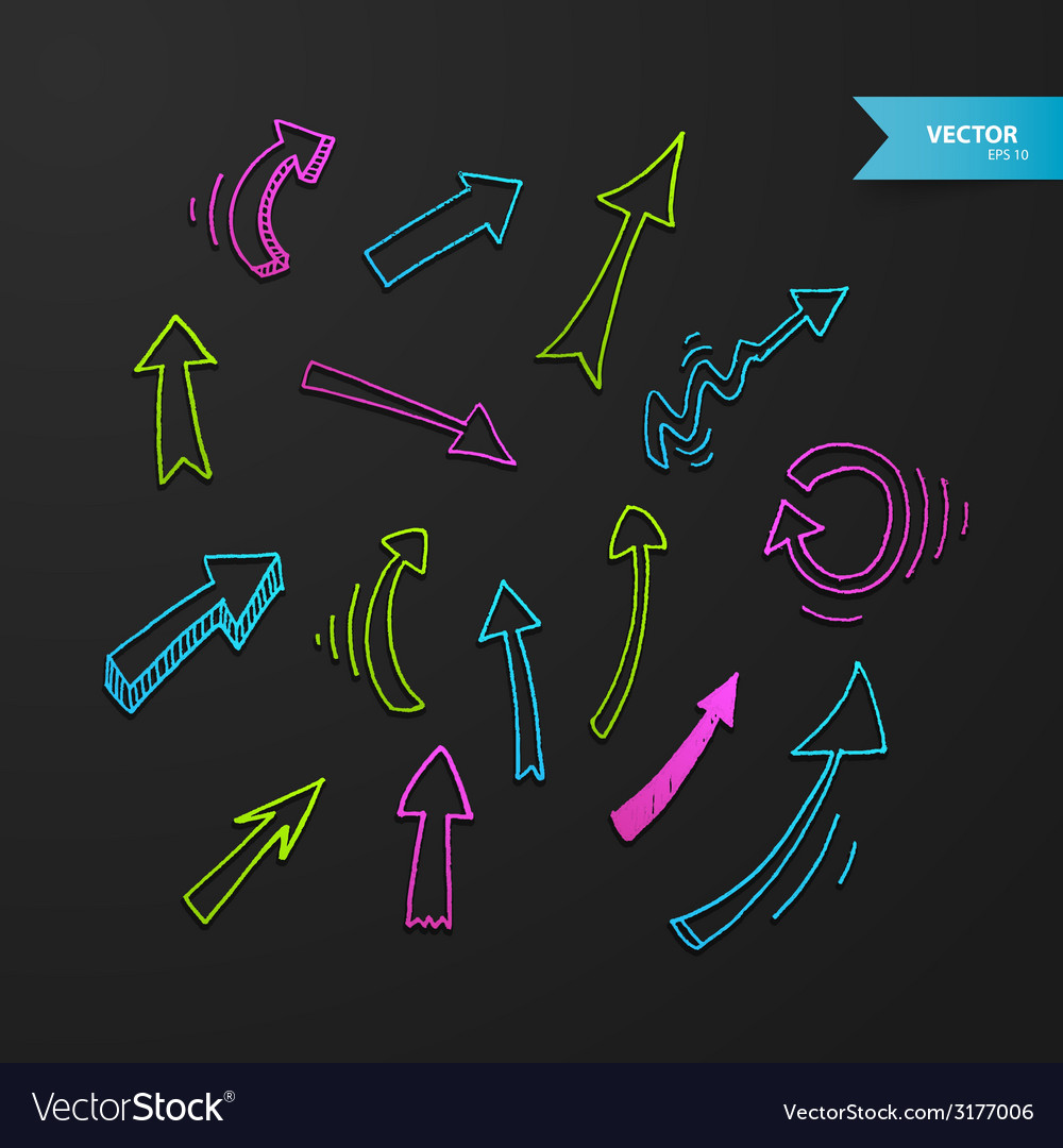 Colorful arrows set on dark background vector | Price: 1 Credit (USD $1)