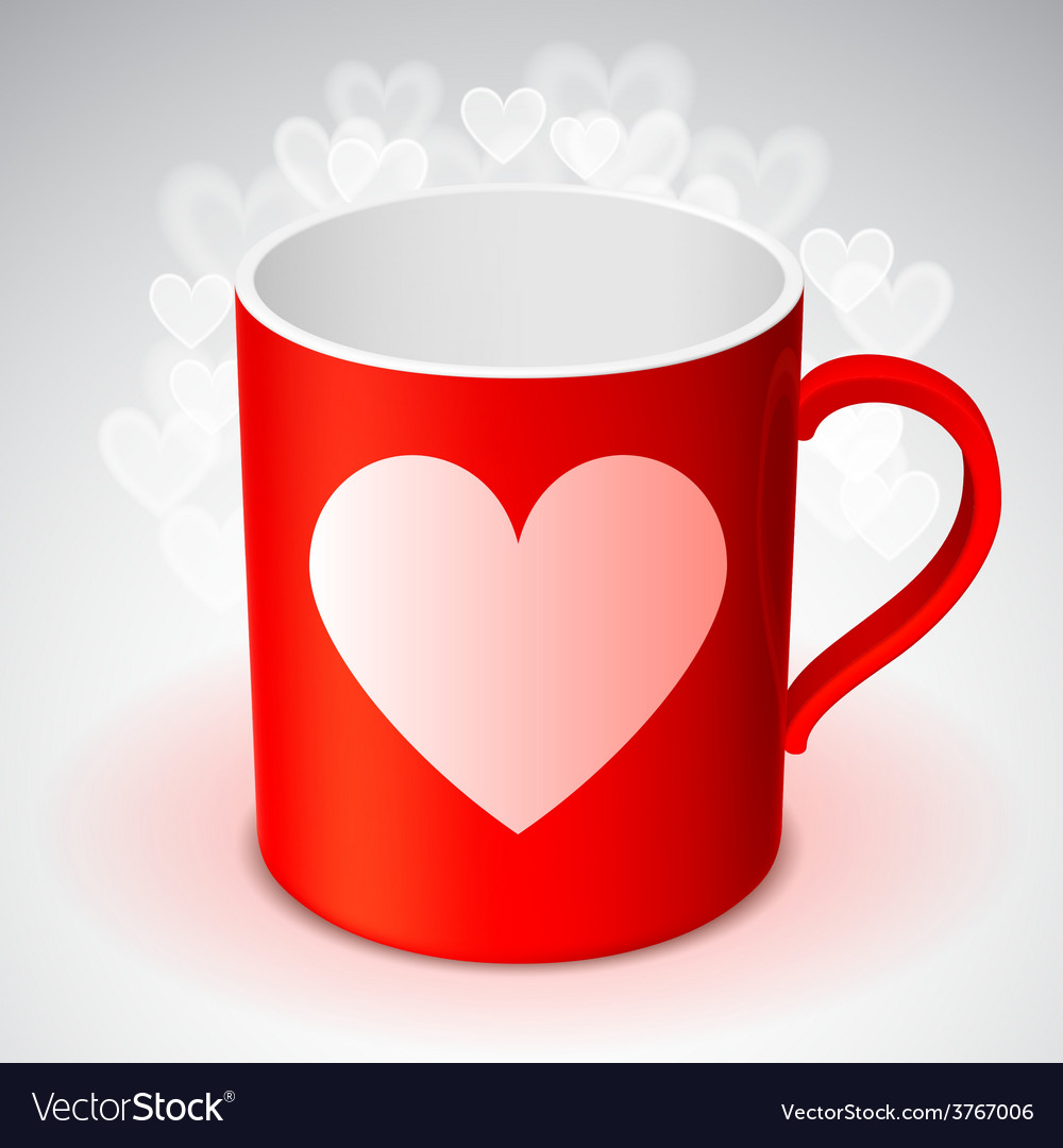 Cup with heart symbol vector | Price: 1 Credit (USD $1)